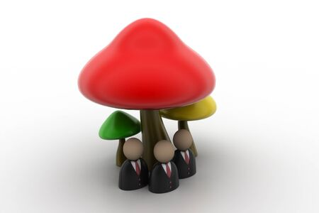 gilled: 3d people icon under the mushrooms