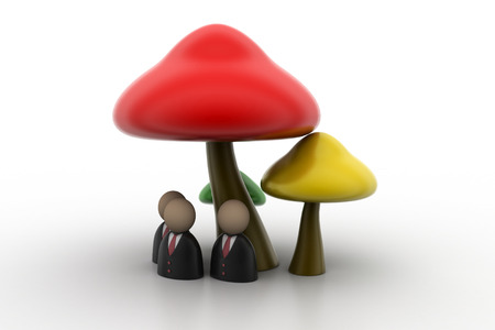 fleshy: 3d people icon under the mushrooms