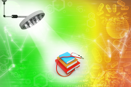 general knowledge: Medical text books in theatre light