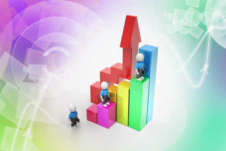 3d business people climbing on bar graph photo