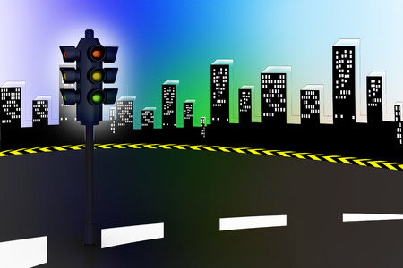 high way: Modern traffic lights and high way