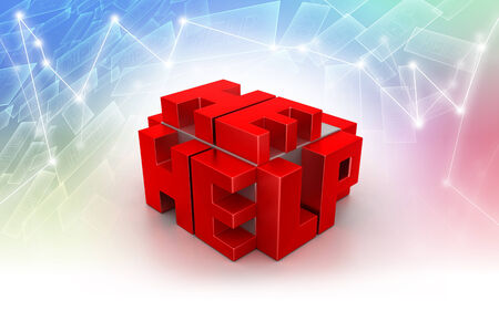 3d red cubes with HELP photo