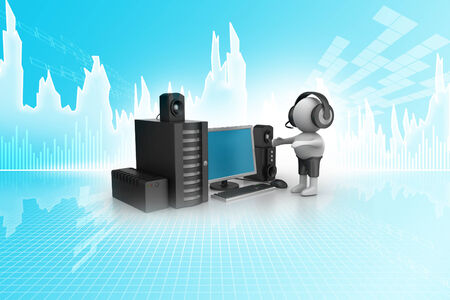3D Man listening music with music system photo