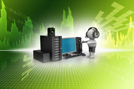 public address: 3D Man listening music with music system Stock Photo