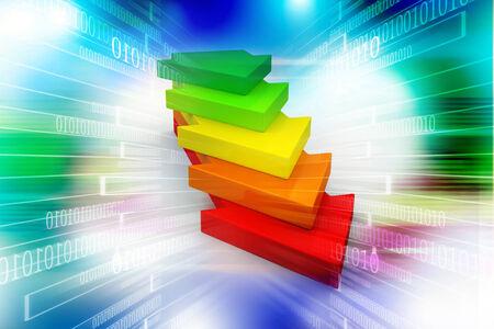 upward movements: Multi colored arrow Stock Photo