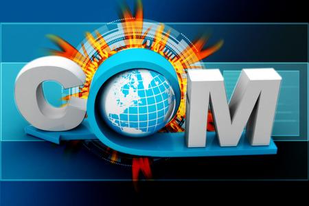 dot com: globe with word dot com