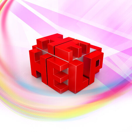 3d red cubes with logo HELP photo