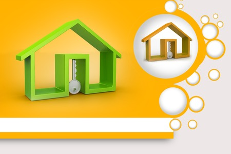 house for rent: Home and key, house for rent concept Stock Photo