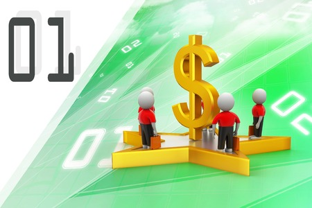 3d small people standing on a star and dollar sign photo