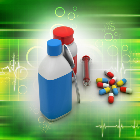 Medical bottles and pills photo