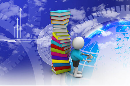 3d student and books, education concept photo