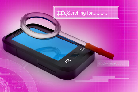 communicator: smart phone with magnifying glass