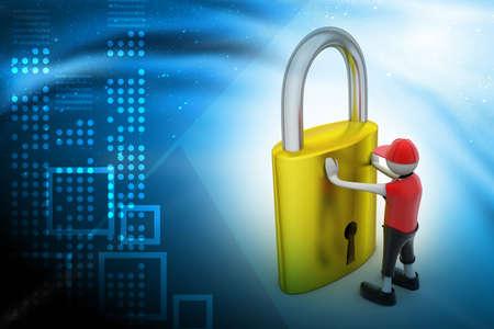 iron barred: 3D man holding a padlock