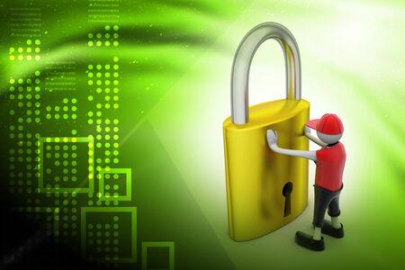 limitations: 3D man holding a padlock