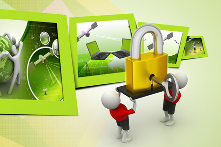 credential: 3D people  holding a   padlock