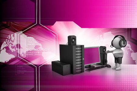sub woofer: 3D Man listening music with music system Stock Photo