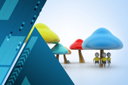 plantae: 3d people under the mushrooms Stock Photo
