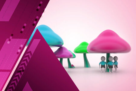 macroscopic: 3d people under the mushrooms Stock Photo