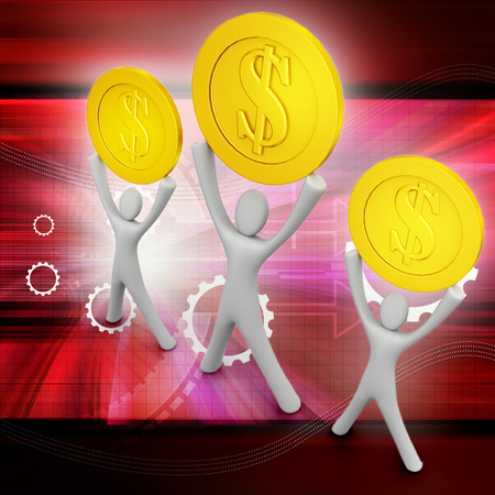 happy 3d: Golden coins and happy 3d small person