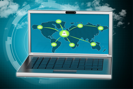 Laptop screen showing networking people photo