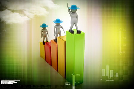 ascent: 3d people walking on financial graph Stock Photo