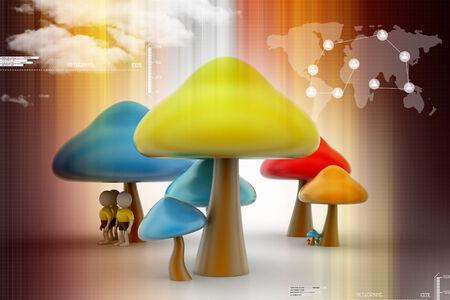 macroscopic: 3d people under the mushrooms Stock Photo