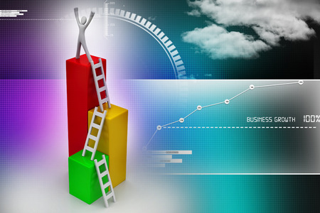 shortcut: Success concept, 3d man on top of business growth graph Stock Photo