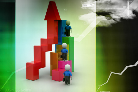 shortcut: Success concept, 3d people climb on top of business growth graph