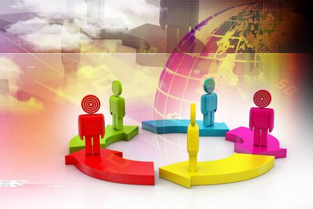 curving: 3d people standing on the colourful arrows