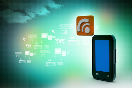 smart phone with rss sign photo
