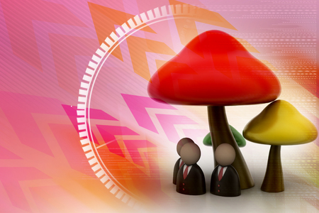 macroscopic: 3d people icon under the mushrooms