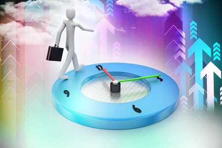 inefficient: A 3d man walking on a clock surface time piece  time piece, Stock Photo
