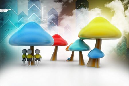 fleshy: 3d people under the mushrooms Stock Photo