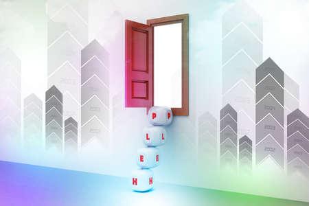 open window: dice steps and open window, Help concept
