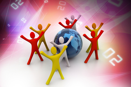 3d render of colored  people around globe photo