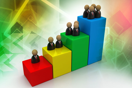 Business graph with man icon photo