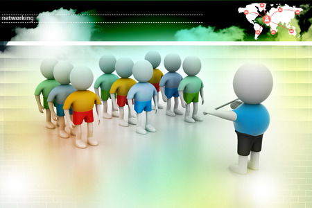 cheer leader: Leader speaking to audience. 3d rendered illustration. Stock Photo