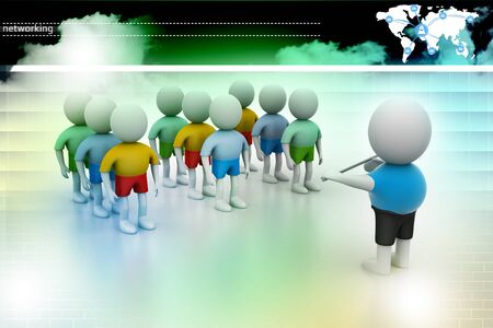 rendered: Leader speaking to audience. 3d rendered illustration. Stock Photo