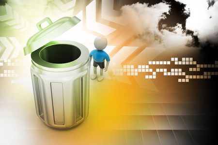person standing: 3d small person standing next to a trash can