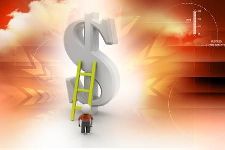 climbing ladder: 3d man climbing ladder toward financial symbol