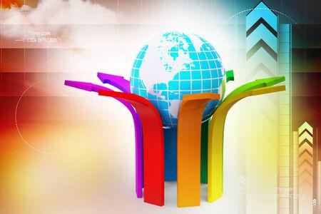 upward movements: Multi colored arrow with globe