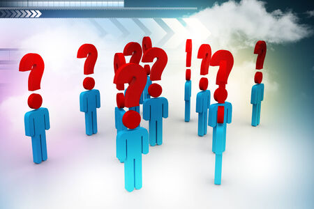 artists dummy: People and question mark Stock Photo