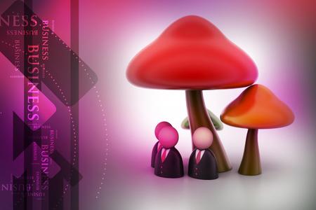 3d people icon under the mushrooms Banco de Imagens - 105842220