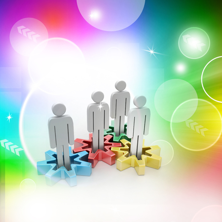 Group of stylized people stand on gears Stok Fotoğraf - 105842490