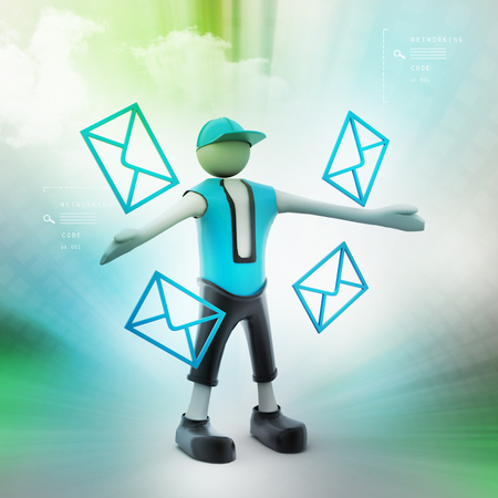 man with envelope, message concept Stock Photo