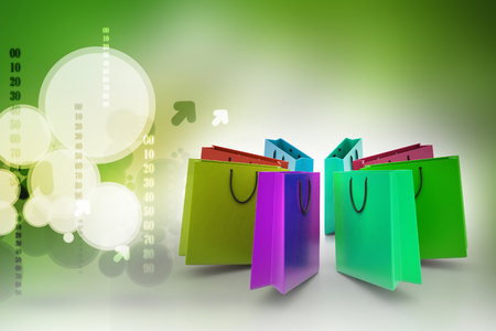 Shopping bags in multiple color Banco de Imagens