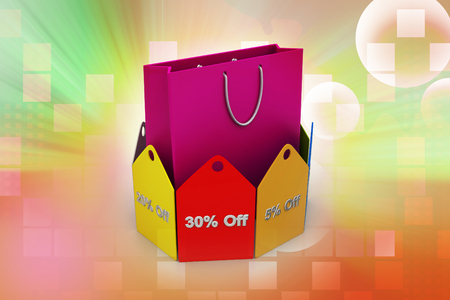 Shopping bag with discount tags Banco de Imagens