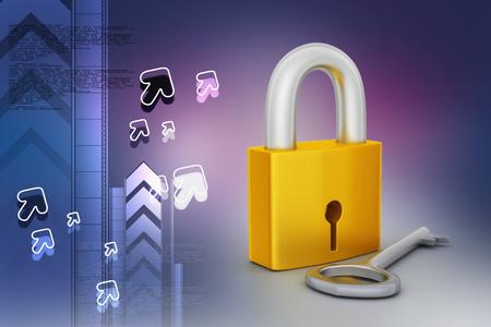 Key and padlock Banco de Imagens - 105843055