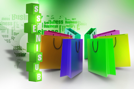 Shopping bags in multiple color Banco de Imagens - 105843093