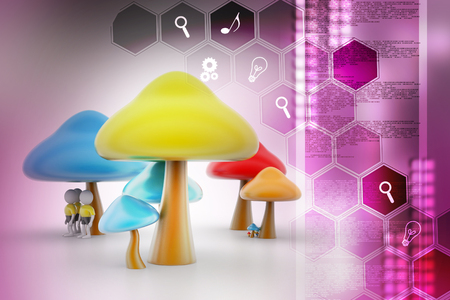 3d people under the mushrooms 版權商用圖片